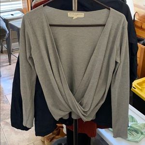 Grey thermal open-front long sleeve